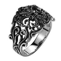 comeon® Finger Ring, Stainless Steel, different size for choice & enamel & blacken, 25x17mm, Sold By PC