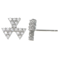 Cubic Zirconia Micro Pave Sterling Silver Earring, 925 Sterling Silver, with rubber earnut, Flower, micro pave cubic zirconia, 10.5x10.5x13mm, Sold By Pair