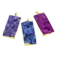 Natural Agate Druzy Pendant, Ice Quartz Agate, with Brass, gold color plated, druzy style & mixed, 26x51x7mm-27x51x10mm, Hole:Approx 4-7mm, 30PCs/Bag, Sold By Bag