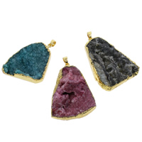 Natural Agate Druzy Pendant, Ice Quartz Agate, with Brass, gold color plated, druzy style & mixed, 25x40x7mm-38x47x12mm, Hole:Approx 5x7mm, 50PCs/Bag, Sold By Bag
