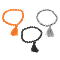 Crystal Bracelets, with Nylon Cord, Rondelle, faceted, more colors for choice, 4.5x6mm, Length:Approx 6 Inch, Sold By Strand
