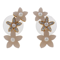 Resin Zinc Alloy Earring, with plastic earnut & Resin, brass post pin, Flower, gold color plated, with glass pearl & with rhinestone, nickel, lead & cadmium free, 10x24x6mm, Sold By Pair