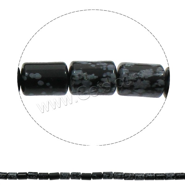 Snowflake Obsidian Bead, Column, natural, 10x14mm, Hole:Approx 1mm, Length:Approx 15.3 Inch, Approx 28PCs/Strand, Sold By Strand