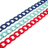 Aluminum Twist Oval Chain, electrophoresis, more colors for choice, nickel, lead & cadmium free, 21x27x5mm, Sold By m