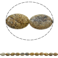 Picture Jasper Beads, Flat Oval, natural, 13x18x5mm, Hole:Approx 1.5mm, Length:Approx 15.3 Inch, Approx 22PCs/Strand, Sold By Strand