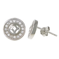 Cubic Zirconia Micro Pave Sterling Silver Earring, 925 Sterling Silver, Flat Round, platinum plated, micro pave cubic zirconia, 8.5x8.5x13mm, Sold By Pair