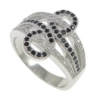 Cubic Zirconia Micro Pave Brass Finger Ring, platinum plated, micro pave 78 pcs cubic zirconia, 16mm, US Ring Size:7, Sold By PC