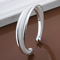 comeon® Jewelry Bracelet, Brass, real silver plated, 15mm, Inner Diameter:Approx 65mm, Length:Approx 8 Inch, Sold By PC