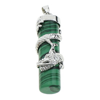 Malachite Pendants, with Brass, Column, platinum color plated, natural, 13x41x14mm, Hole:Approx 5x6mm, Sold By PC
