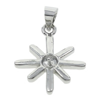 Brass Peg Bail, Flower, platinum color plated, nickel, lead & cadmium free, 16x23x4mm, Hole:Approx 4x3mm, Sold By PC