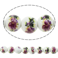 Printing Porcelain Beads, Round, with flower pattern, 8mm, Hole:Approx 2mm, Length:Approx 14.5 Inch, Approx 42PCs/Strand, Sold By Strand