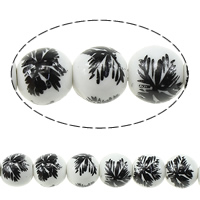 Printing Porcelain Beads, Round, with flower pattern & two tone, 10mm, Hole:Approx 2mm, Length:Approx 13.5 Inch, Approx 35PCs/Strand, Sold By Strand