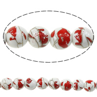 Printing Porcelain Beads, Round, with flower pattern, 10mm, Hole:Approx 2mm, Length:Approx 13.5 Inch, Approx 35PCs/Strand, Sold By Strand