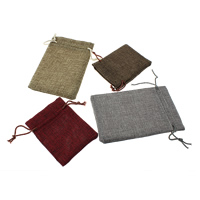 Linen Jewelry Pouches, with Nylon Cord, Rectangle, different size for choice, more colors for choice, Sold By PC