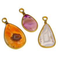 Ice Quartz Agate Pendants, with Brass, gold color plated, mixed, 28x56x7mm-36x67x8mm, Hole:Approx 7mm, 50PCs/Bag, Sold By Bag
