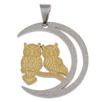 Stainless Steel Animal Pendants, Owl, plated, two tone & stardust, 32x35x2mm, Hole:Approx 4x7mm, Sold By PC
