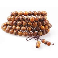 108 Mala Beads, Sandalwood, with Elastic Thread, Buddhist jewelry & 4-strand, 8mm, Length:Approx 34 Inch, 108PCs/Strand, Sold By Strand