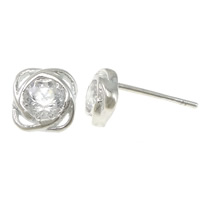 Cubic Zirconia Micro Pave Sterling Silver Earring, 925 Sterling Silver, Flower, without earnut & micro pave cubic zirconia, 5.5x5.5x13mm, 0.8mm, Sold By Pair