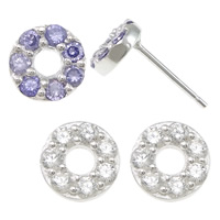 Cubic Zirconia Micro Pave Sterling Silver Earring, 925 Sterling Silver, Donut, without earnut & micro pave cubic zirconia, more colors for choice, 7x7x12.5mm, 0.8mm, Sold By Pair