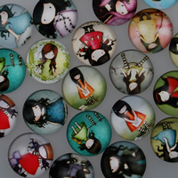 Time Gem Cabochon, Glass, character design & time gem jewelry & flat back & mixed & decal, 16x5mm, Sold By PC