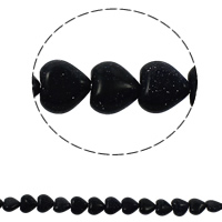 Blue Goldstone Beads, Heart, natural, 12x5mm, Hole:Approx 1.5mm, Length:Approx 15.7 Inch, Approx 36PCs/Strand, Sold By Strand