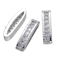 Brass Spacer Bar, platinum plated, micro pave cubic zirconia & 3-strand, 4x17mm, Hole:Approx 1mm, Sold By PC