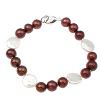 Cultured Freshwater Pearl Bracelets, brass clasp, different styles for choice & two tone, 9-10mm, 12-13mm, Length:Approx 7.5 Inch, Sold By Strand