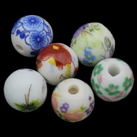 Printing Porcelain Beads, Round, different size for choice & different designs for choice, Sold By PC
