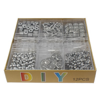 DIY Bracelet Beads Set, Acrylic, with Plastic Box & Crystal Thread & Iron, antique silver color plated, 7x10x6mm-17x16x7mm, Hole:Approx 1-2mm, 12Boxes/Lot, Sold By Lot