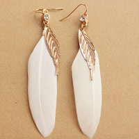 Fashion Feather Earring , Zinc Alloy, brass earring hook, gold color plated, with rhinestone, 70mm, Sold By Pair
