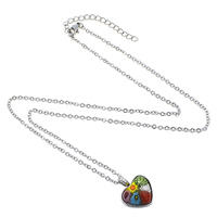 Millefiori Glass Jewelry Necklace, Stainless Steel, with Murano Millefiori Lampwork, with 2lnch extender chain, Heart, oval chain, original color, 2.2x2x0.3mm, 16x19x6mm, Length:Approx 18.5 Inch, Sold By Strand