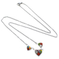 Millefiori Glass Jewelry Necklace, Stainless Steel, with Murano Millefiori Lampwork, Heart, oval chain, original color, 2.2x2x0.4mm, 14x9x5mm, 17x12x6mm, Length:Approx 23 Inch, Sold By Strand