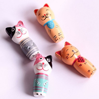 Wood Fridge Magnet, Cat, brushwork, with magnetic, mixed colors, 42x20mm, 2PCs/Set, Sold By Set