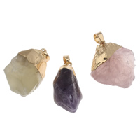 Natural Quartz Pendants, with brass bail, Nuggets, gold color plated, more colors for choice, 16x35x16mm-25x37x19mm, Hole:Approx 4x5mm, Sold By PC