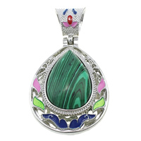 Malachite Pendants, Zinc Alloy, with Malachite, Teardrop, platinum color plated, natural & enamel & hollow, 37x50x14mm, Hole:Approx 6x9mm, Sold By PC