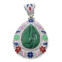 Malachite Pendants, Zinc Alloy, with Malachite, Teardrop, platinum color plated, natural & enamel & hollow, 41x55x15mm, Hole:Approx 6x9mm, Sold By PC