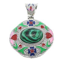 Malachite Pendants, Zinc Alloy, with Malachite, platinum color plated, natural & enamel & hollow, 50x51x15mm, Hole:Approx 6x9mm, Sold By PC