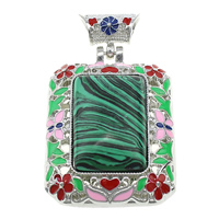 Malachite Pendants, Zinc Alloy, with Malachite, Rectangle, platinum color plated, natural & enamel & hollow, 38x51x15mm, Hole:Approx 5x6mm, Sold By PC