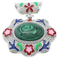 Malachite Pendants, Zinc Alloy, with Malachite, Flower, platinum color plated, natural & enamel & hollow, 49x42x15mm, Hole:Approx 4.5x8mm, Sold By PC