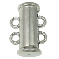 Brass Slide Lock Clasp, platinum color plated, 2-strand, nickel, lead & cadmium free, 15x11x7mm, Hole:Approx 1.5mm, Sold By PC