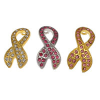 Awareness Ribbon Pendant, Zinc Alloy, plated, with rhinestone, more colors for choice, nickel, lead & cadmium free, 18x33x9mm, Hole:Approx 2mm, Sold By PC