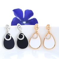 Resin Zinc Alloy Earring, with rubber earnut & Resin, brass post pin, Teardrop, plated, with rhinestone, more colors for choice, 20x40mm, Sold By Pair