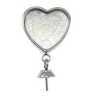 Stainless Steel Bail Setting, Heart, original color, 24mm, 13.5x16x2mm, 5x9mm, 0.8mm, Hole:Approx 3.5x4.5mm, Inner Diameter:Approx 12x12mm, Sold By PC