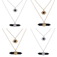 Zinc Alloy Sweater Chain Necklace, with Resin, with 1.5Inch extender chain, plated, oval chain, more colors for choice, 47x10mm,20x14mm, Length:Approx 25.5 Inch, Sold By Strand