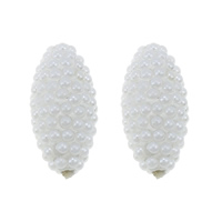 Glass Pearl Beads, Clay Pave, with Glass Pearl, Oval, white, 10x20mm, Hole:Approx 2mm, Sold By PC