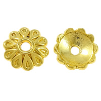 Brass Bead Cap, Flower, gold color plated, 8x8x1mm, Hole:Approx 1.5mm, Sold By PC