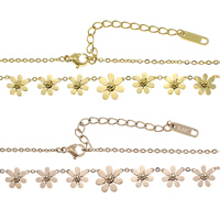 Stainless Steel Jewelry Necklace, with 2.5lnch extender chain, Flower, plated, oval chain, more colors for choice, 2x1.4x0.3mm, 7.5x7.5x3mm, 10x10x3.5mm, Length:Approx 15.5 Inch, Sold By Strand