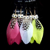 Fashion Feather Earring , Zinc Alloy, with Feather, brass earring hook, Owl, gold color plated, enamel & with rhinestone, more colors for choice, 85mm, Sold By Pair