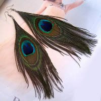 Fashion Feather Earring , Peacock Feather, brass earring hook, platinum color plated, 150-200mm, Sold By Pair