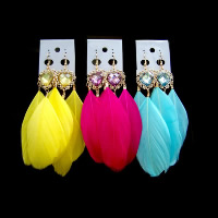 Fashion Feather Earring , with Resin, brass earring hook, gold color plated, more colors for choice, 110mm, Sold By Pair